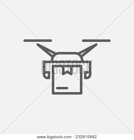 Drone Delivery Icon Line Symbol. Isolated Vector Illustration Of Drone Multirotor Sign Concept For Y