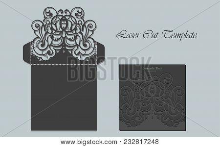 Vector Die Laser Cut Envelope Template. Invitation Envelope. Wedding Lace Invitation Mockup. Vector