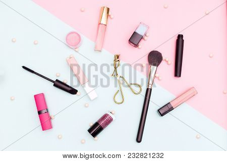 Beauty And Fashion Concept Flat Lay. Multicolored Background