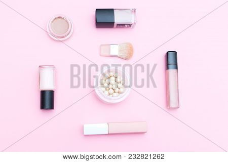 Decorative Cosmetics  Nude Color On A Pink Background. Isometric Style