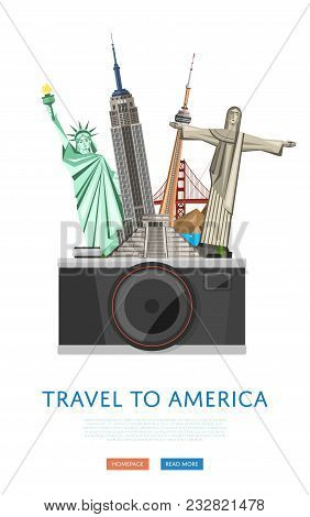 Travel To America Poster With Empire State Building, Statue Of Liberty And Others Famous Architectur