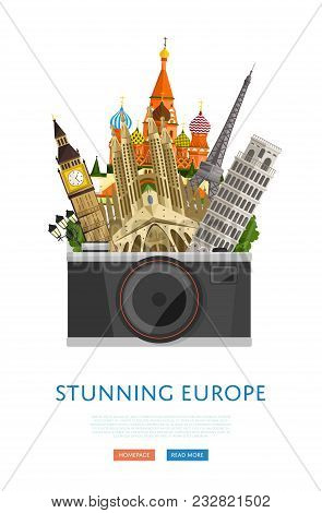 Stunning Europe Poster With Eiffel Tower, Leaning Tower, Big Ben And Others Famous Architectural Com