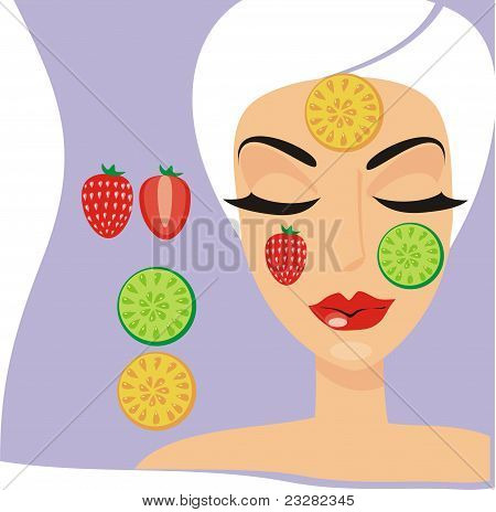 The Person Of The Woman With A Cosmetology Fruit Mask