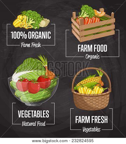 Organic Farm Food Set Illustration. Natural Vegetable, Organic Farming, Vegan Food Store, Retail Far