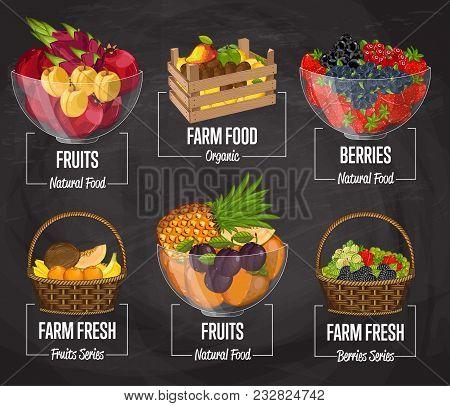 Organic Farm Fruit Set Illustration. Natural Sweet Fruit, Organic Farming, Vegan Food Store, Retail
