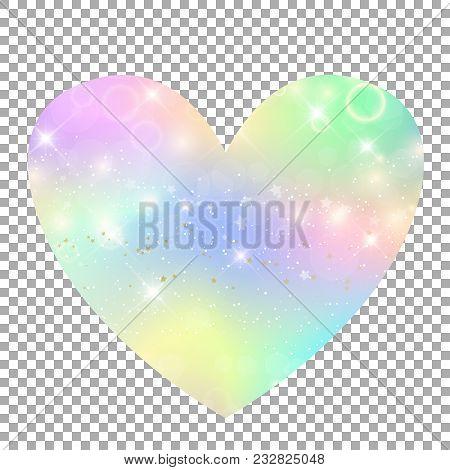 Unicorn With Rainbow Mesh Heart Icon. Kawaii Universe Clip Art In Princess Colors. Fantasy Gradient
