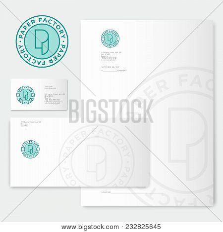 Paper Factory Logo. P Monogram. Roll Of Paper Logo And Identity. Envelope,letterhead, Letter, And Bu