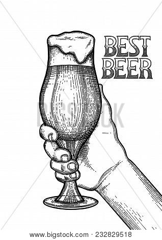 Graphic Hand Holding Pint Of Beer. Vintage Vector Illustration Isolated On White Background Drawn In