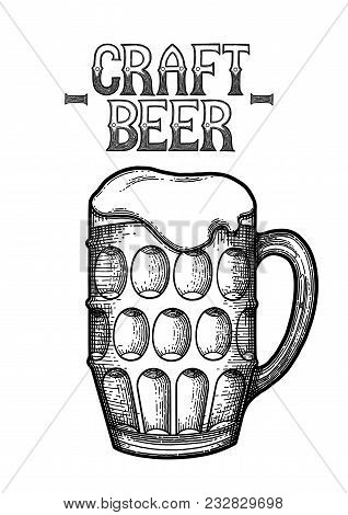 Graphic Pint Of Beer. Vintage Vector Illustration Of Alcoholic Beverages Drawn In Engraving Techniqu