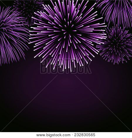 Firework Sparkle Background Card. Beautiful Bright Fireworks Isolated On Black Background. Light Pin