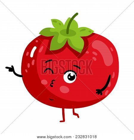 Cute Vegetable Tomato Cartoon Character Isolated On White Background Illustration. Funny Positive An