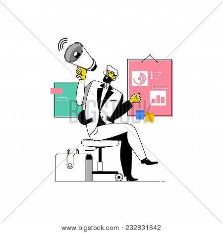 Businessman Shouting Into Megaphone.make An Announcement.vector Illustration