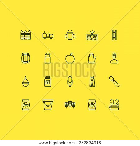 Garden Icons Set With Flower Seeds, Honey, Garden Gloves And Other Fertilizer Elements. Isolated Vec