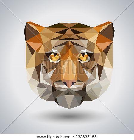 Abstract Polygonal Tirangle Animal Tiger. Hipster Animal Illustration.