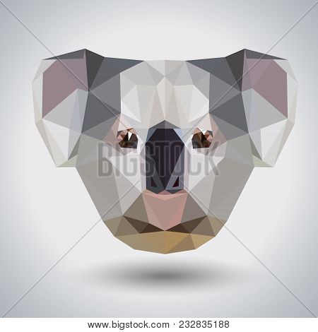 Abstract Polygonal Tirangle Animal Koala. Hipster Animal Illustration.