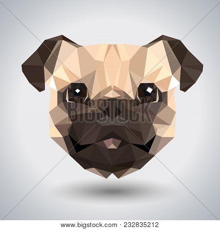 Abstract Polygonal Tirangle Animal Pug-dog. Hipster Animal Illustration.