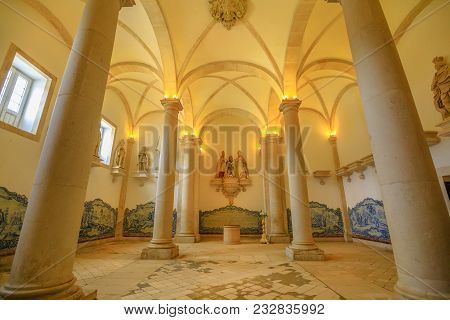 Alcobaca, Portugal - August 15, 2017: Sala Dos Reis Or Room Of The Kings Inside Monastery Of Alcobac