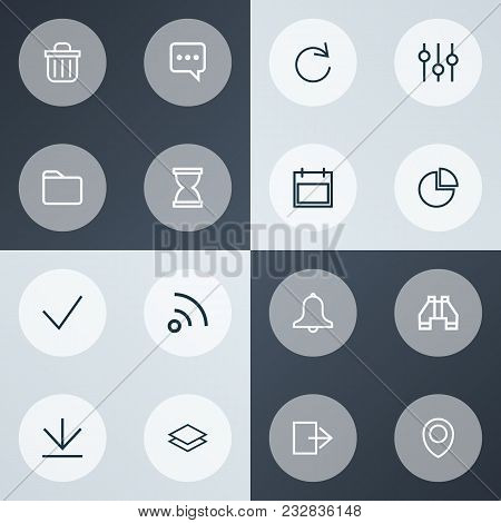 Interface Icons Line Style Set With Done, Date, Exit And Other Reload Elements. Isolated  Illustrati