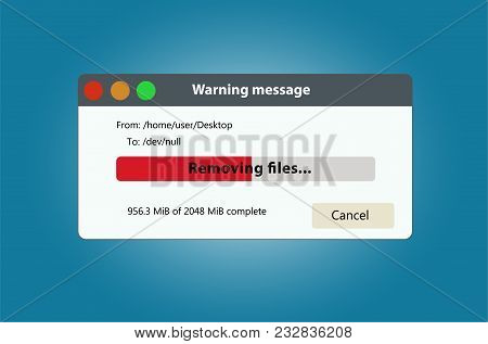 Remove Files And Data Progress Bar. It Can Be Used To Illustrate The Delete Or Loss Of Data. Isolate