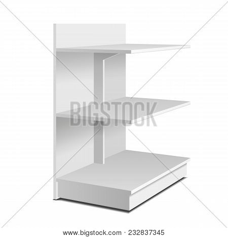 Floor Display Rack For Supermarket. Blank Empty Displays With Shelves Mock Up. Illustration Isolated