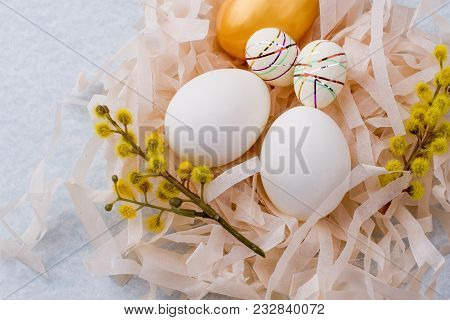 Close Up Beautiful Easter Composition With Eggs. White Eggs And Pussy-willow Branches With Catkins I