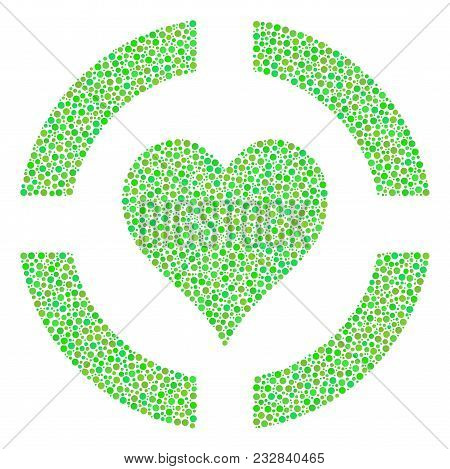 Casino Hearts Mosaic Of Round Dots In Different Sizes And Green Color Tones. Circle Elements Are Gro
