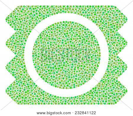 Condom Package Composition Of Circle Dots In Various Sizes And Fresh Green Color Hues. Dots Are Unit