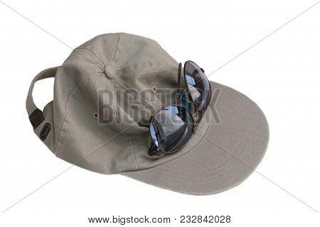Khaki Green Baseball Sports Hat And Dark Brown Reflective Sunglasses, On White