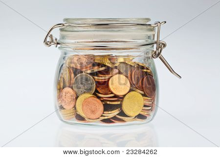 Glass with Euro coins