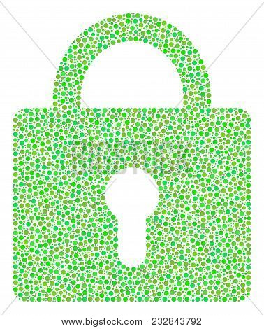 Lock Composition Of Circle Dots In Variable Sizes And Ecological Green Shades. Dots Are Combined Int