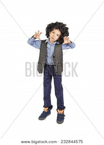 Young Boy In Afro Wig Acting Like A Monster, Isolated On White
