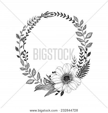 Hand Drawn Wreath Of Branches With Flower Dahlia. Vector Floral Illustration In Vintage Style For Yo