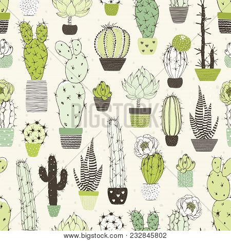 Seamless Abstraction Background With Different Cactuses And Succulents. Vector Doodle Illustration.