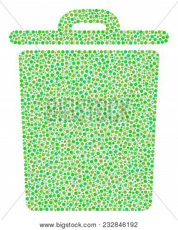Trash Bin Composition Of Circle Dots In Various Sizes And Green Color Tones. Dots Are Composed Into