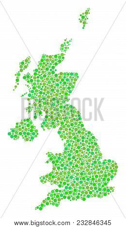 United Kingdom Map Collage Of Dots In Variable Sizes And Fresh Green Shades. Round Dots Are Organize
