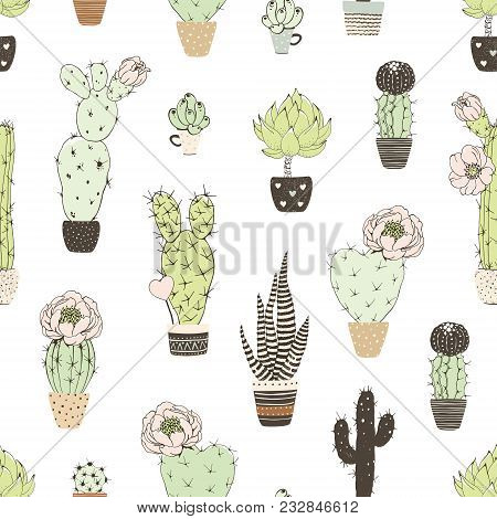 Seamless Pattern With Doodles Blossom Cactuses In Flowers Pots. Vector Floral Illustration On White