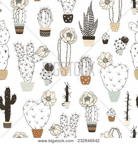 Seamless Pattern With Silhouettes Blossom Cactuses In Flowers Pots. Vector Floral Illustration On Wh