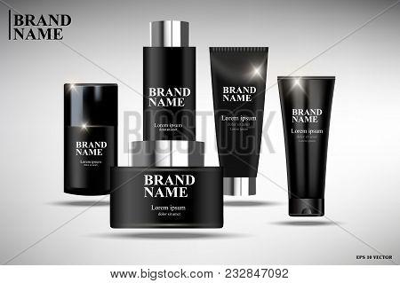 Black Cosmetics, Black Cosmetic Packaging Design, Illustration Of Cosmetics For Promoting Premium Pr