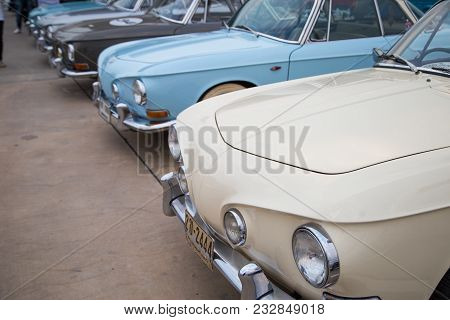 Nonthaburi, Thailand - March 10, 2018: Vw Karmann Ghia Type 34 Show In Volkswagen Club Meeting At Ca