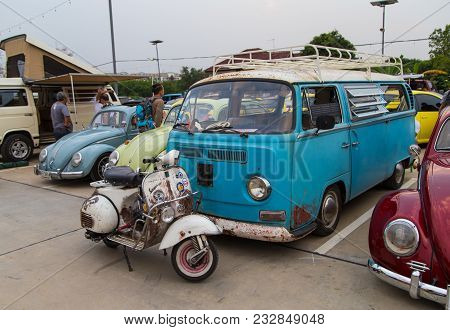 Nonthaburi, Thailand - March 10, 2018: Vw Owners Gathering In Volkswagen Club Meeting At Car Park Of
