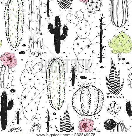 Seamless Abstraction Pattern Of Cactuses. Vector Doodle Illustration Black, Green And Pink Colors On
