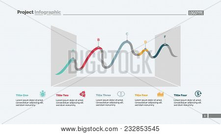 Five Points Of Line Chart Slide Template. Business Data. Review, Progress, Design. Creative Concept