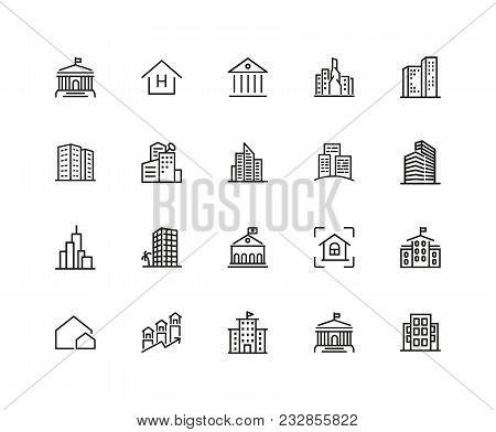 Building Icons. Set Of Twenty Line Icons. Skyscraper, Hotel, Cityscape. Housing Development Concept.
