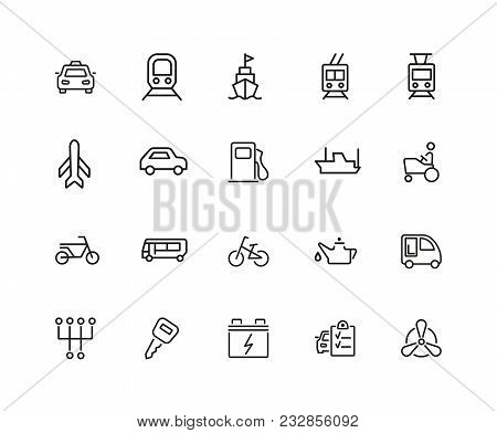 Carriage Icons. Set Of Twenty Line Icons. Taxi, Petrol Station, Car Engine. Transport Concept. Vecto