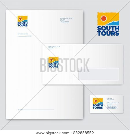 Southern Tours Logo. Tourism Icon. Sea, Sun And Mountains Emblem.. Identity, Business Card, Letterhe