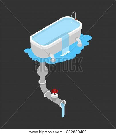 Bath Was Clogged. Leakage Canalization. Clogged In Bathroom. Isometric Style