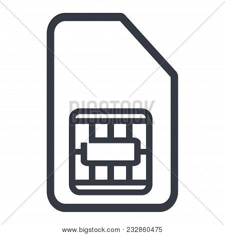 Sim Card Phone Contour Icon Vector Illustration