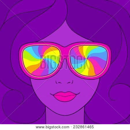 Psychedelic Style Portrait Of Pretty Girl In Sunglasses With Rainbow Swirls. Groovy Neon Colors Vint