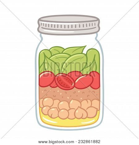 Salad In Mason Jar, Healthy Vegan Lunch Idea. Cute Hand Drawn Meal Prep With Vegetables, Beans And D