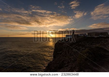 Sunseet At Cape St. Vincent Lighthouse Cabo De Sao Vicente